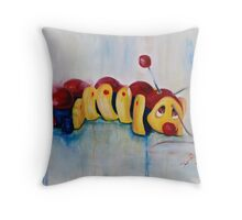 Caterpillar pull along - retro Throw Pillow