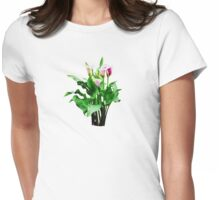 Pink and White Calla Lilies Womens Fitted T-Shirt