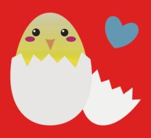 Cute Easter chick with love heart One Piece - Short Sleeve