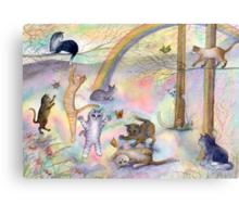 Kitties wait for their humans at Rainbow Bridge Canvas Print