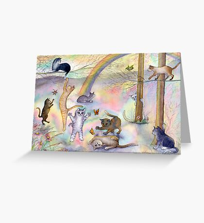 Kitties wait for their humans at Rainbow Bridge Greeting Card