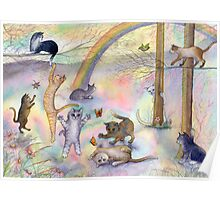 Kitties wait for their humans at Rainbow Bridge Poster