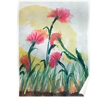 Pink flowers in the wild, watercolor Poster