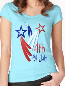 Three Shooting Stars - Happy 4th Women's Fitted Scoop T-Shirt