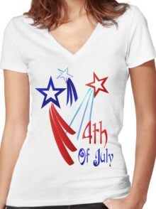 Three Shooting Stars - Happy 4th Women's Fitted V-Neck T-Shirt