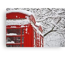 Telephone Boxes In The Snow Canvas Print