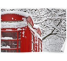 Telephone Boxes In The Snow Poster