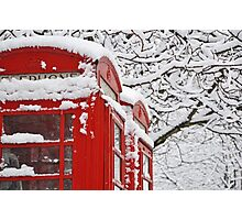 Telephone Boxes In The Snow Photographic Print