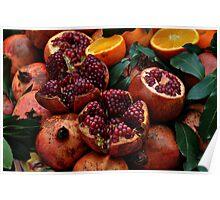 Pomengranates and oranges Poster