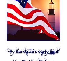 American Flag Waves in Front of Lighthouse at Dawn by Sue Baumgardner