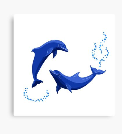 Two dolphins Canvas Print