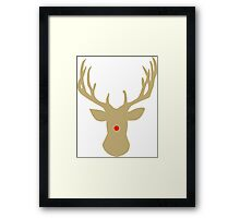 Gold Christmas reindeer with a red nose Framed Print