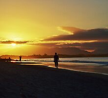 Sunset at Byron Bay Beach by Kate Lionis
