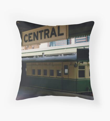 Historic Rail Motor at Central Station Throw Pillow