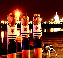 Lifesaver Bollards on Geelong Waterfront by Jenna Florescu