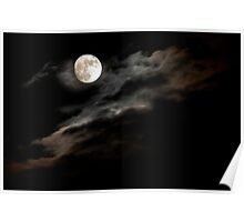 Moon Rising through Clouds Poster