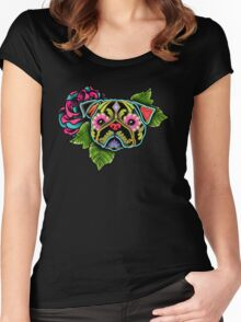 Day of the Dead Pug in Black Sugar Skull Dog Women's Fitted Scoop T-Shirt