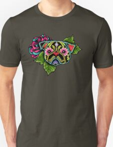 Day of the Dead Pug in Black Sugar Skull Dog T-Shirt