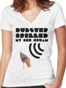 Dubstep Spilled My Icecream - Chocolate Women's Fitted V-Neck T-Shirt