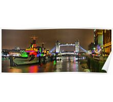 HMS Belfast and Tower Bridge - HDR Poster