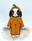 Pumpkin suited dog by Tunnelfrog