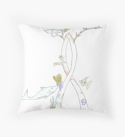 Environmental Awareness Ribbon Throw Pillow