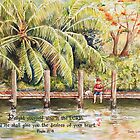 Boy Fishing With Dog- Psalm 37:4 by Janis Lee Colon