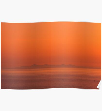 The County Down Hills from Portpatrick across the Irish Sea Poster