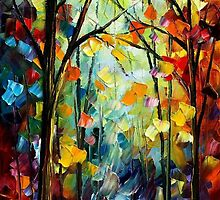 Forest Path - original oil painting on canvas by Leonid Afremov by Leonid  Afremov