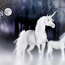 Unicorns in the mist'... by Valerie Anne Kelly