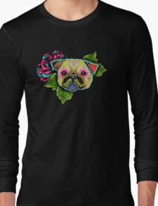 Day of the Dead Pug in Fawn Sugar Skull Dog Long Sleeve T-Shirt
