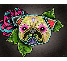 Day of the Dead Pug in Fawn Sugar Skull Dog Photographic Print