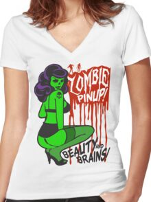 Zombie Pinup #1 Women's Fitted V-Neck T-Shirt