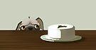 Pug with Christmas cake by Tunnelfrog