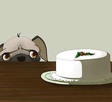 Pug with Christmas cake by Tunnelfrog