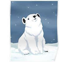Polar bear cub in snow Poster