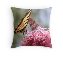 Swallowtail Butterfly Pink Lilacs Throw Pillow