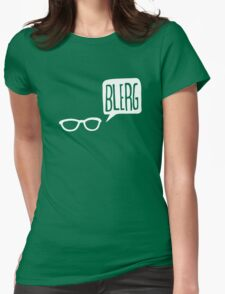 White Blerg Womens Fitted T-Shirt