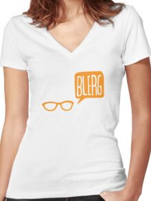 BLERG ORANGE! Women's Fitted V-Neck T-Shirt