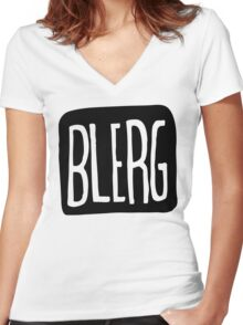 BIG BLERG Women's Fitted V-Neck T-Shirt
