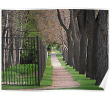 """Sidewalk Between Wrought Iron Fence and Tree Line"" Poster"