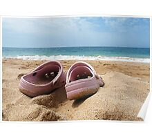 Crocs on the Beach Poster