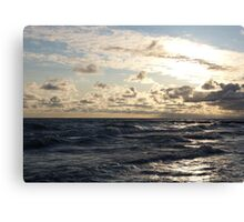 Sunrise - Lake Erie Waves and Clouds Canvas Print