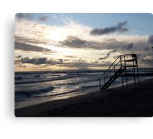 Lifeguard chair, Lake Erie beach, west of Cleveland Canvas Print