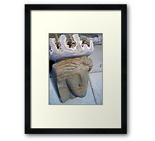 Ancient Stone Face Framed Print