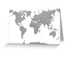 Sketchy Map of the World Greeting Card