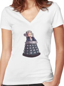 "Doctor Who - Capaldi On Davros ""Chair"" Women's Fitted V-Neck T-Shirt"
