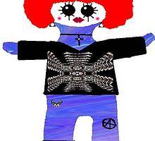 Little Punk Rock / Goth Rag Doll Wearing Mommy's Art 3 by Deborah Lazarus