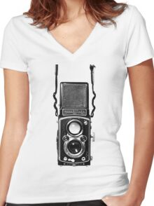 Vintage Medium Format Camera Rolleiflex Twin Lens Reflex (TLR) Women's Fitted V-Neck T-Shirt