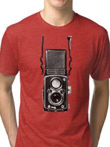 Vintage Medium Format Camera Rolleiflex Twin Lens Reflex (TLR) Tri-blend T-Shirt